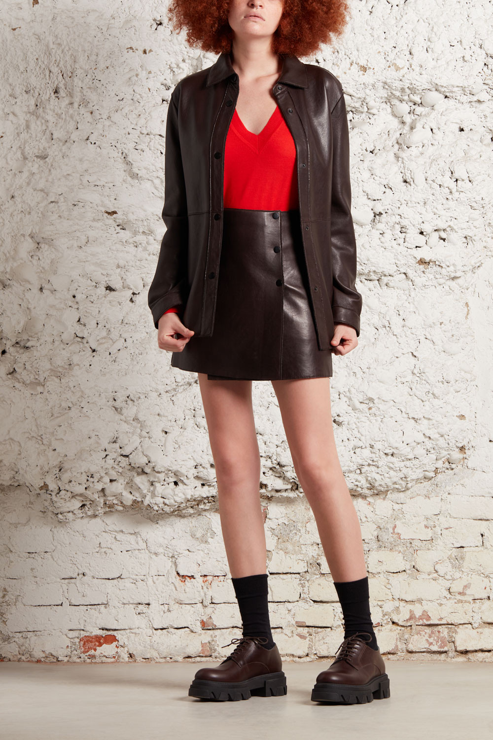 LEATHER SHIRT WITH BUTTONS - MACIOCKXD380561